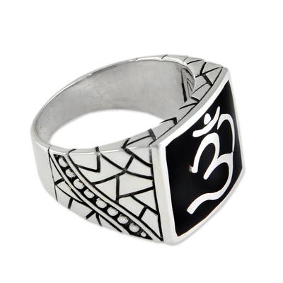 Men's sterling silver ring, 'Sanskrit Om' - Men's Sterling Silver Signet Ring from Indonesia