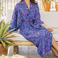 Rayon batik robe 'Purple Mist' - Handcrafted Purple Batik Rayon Robe from Indonesia
