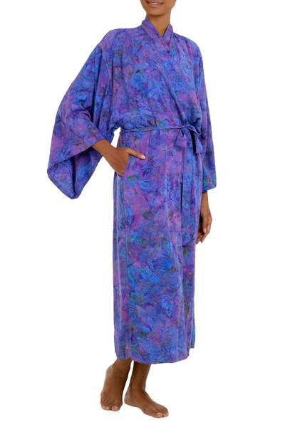 Rayon batik robe 'Purple Mist' - Handcrafted Purple Batik Rayon Robe from Indonesia