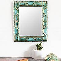 Bronze and copper wall mirror, 'Golden Chan Chan'