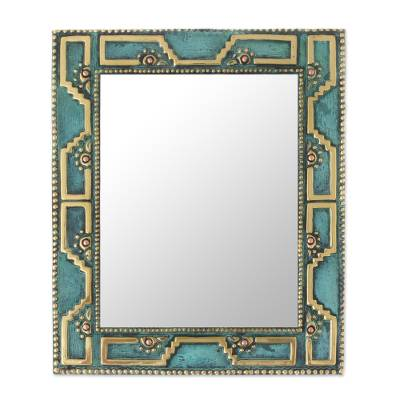 Bronze and copper wall mirror, 'Golden Chan Chan' - Geometric Bronze and Copper Wall Mirror from Peru