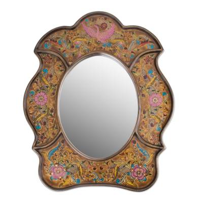 Mirror, 'Garden of Gold' - Reverse Painted Glass Wall Mirror