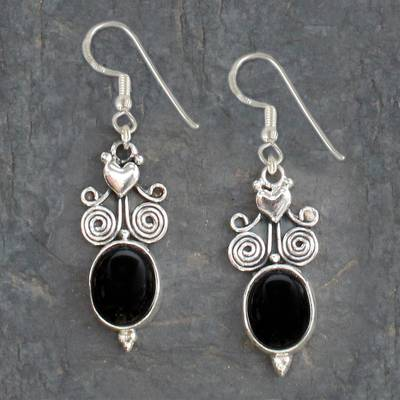 Onyx dangle earrings, 'Black Lotus' - Hand Made Sterling Silver Onyx Dangle Earrings