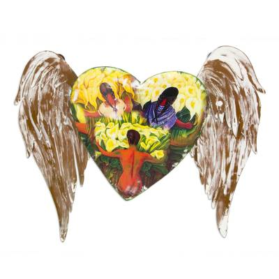 Iron wall sculpture, 'Winged Heart with Lilies' - Mexican Heart Sculpture with Diego Rivera Images