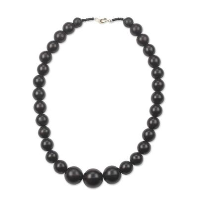 Ebony wood beaded necklace, 'Elegant Circle' - Black Ebony Wood Beaded Necklace from Ghana