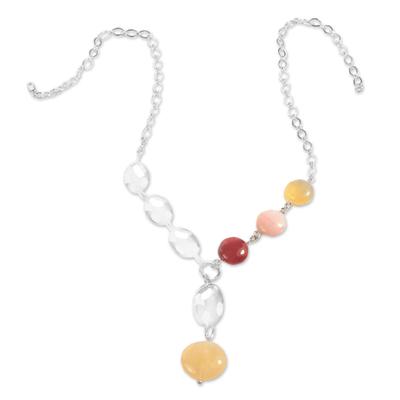 Rose quartz and rhodochrosite Y necklace, 'Ultra Chic' - Multi-Gemstone Y-Necklace