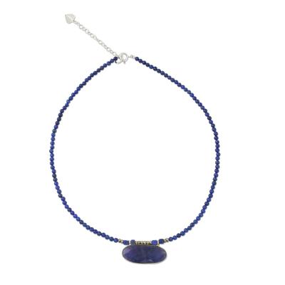 Quartz and lapis lazuli beaded pendant necklace, 'Shades of Blue' - Quartz and Lapis Lazuli Pendant Necklace from Thailand