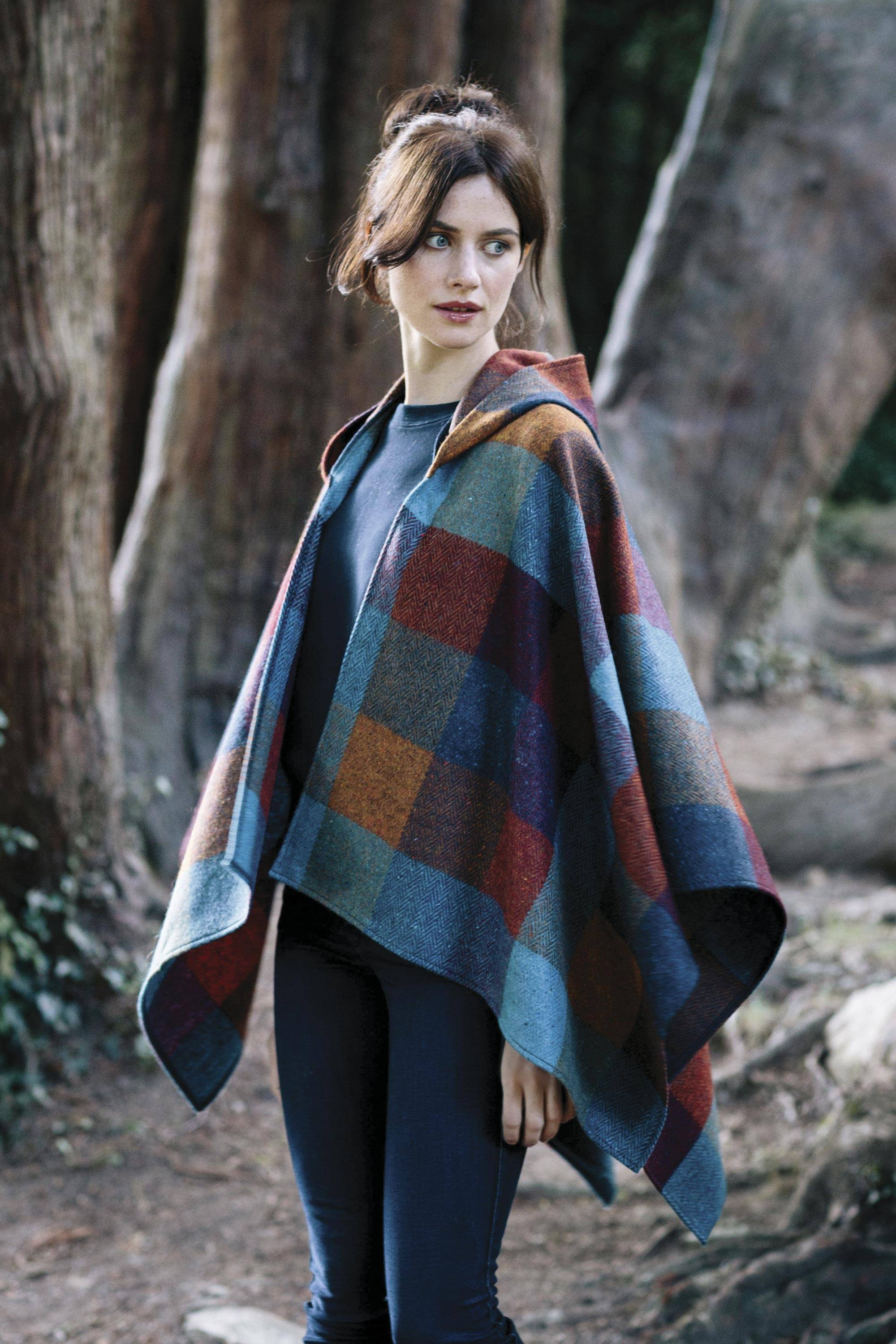 Multicolored Donegal Tweed Plaid Lambswool Hooded Cape, 'Kaleidoscope'