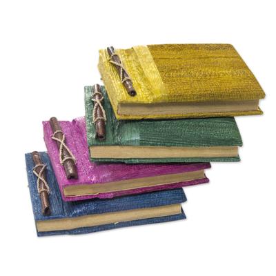 Natural fiber journals, 'Ubud Memoirs' (set of 4) - Colorful Natural Fiber Journals from Bali Artisan (Set of 4)