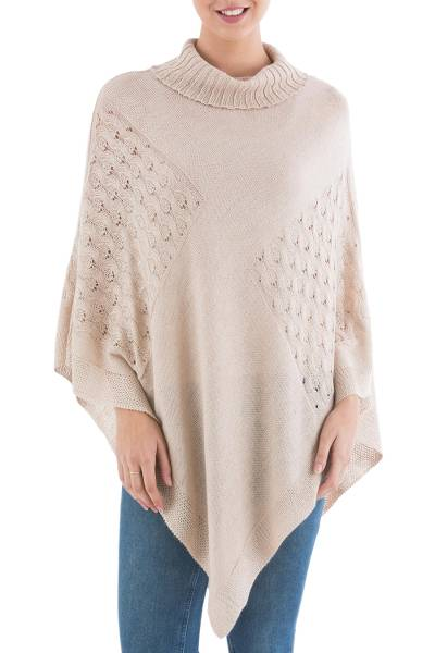Beige Poncho with Turtleneck from Peru