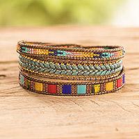 Glass beaded wrap bracelet, 'Country Market'