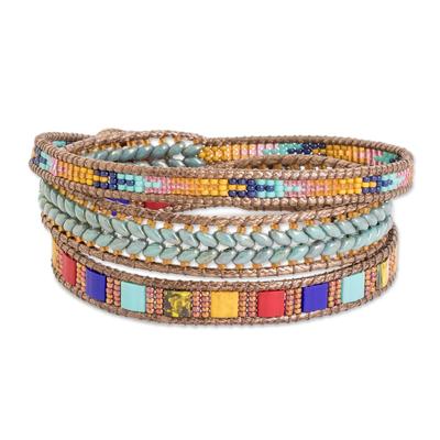 Glass beaded wrap bracelet, 'Country Market' - Multicolored Glass Beaded Wrap Bracelet from Guatemala