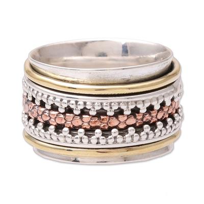 Sterling silver spinner ring, 'Royal Trance' - Dot Motif Sterling Silver Spinner Ring from India