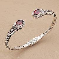 Garnet cuff bracelet, 'Magical Attraction' - Garnet and Sterling Silver Hinged Cuff Bracelet from Bali