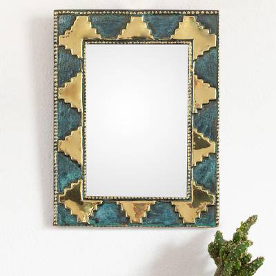 Bronze and copper wall mirror, 'Pre-Hispanic Pyramids in Gold' - Handmade Bronze and Copper Wall Mirror from Peru