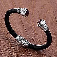 Garnet cuff bracelet, 'Untouched Romance'