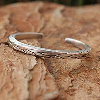 Men's sterling silver cuff bracelet, 'Hill Tribe Braid'