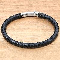 Men's sterling silver accented leather bracelet, 'Brick Road in Black' - Men's Leather Sterling Silver Braided Bracelet Indonesia
