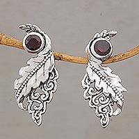Garnet drop earrings, 'Leaf Majesty'