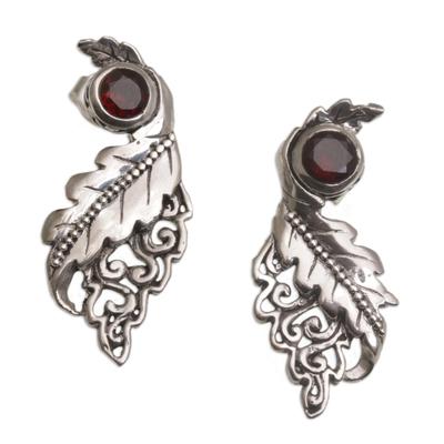 Garnet drop earrings, 'Leaf Majesty' - Leafy Garnet and Sterling Silver Drop Earrings from Bali