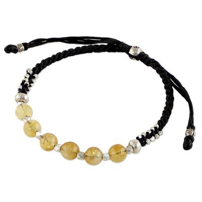 Silver and citrine beaded bracelet, 'Citrine Dream' - Thai Sterling Silver and Citrine Beaded Cord Bracelet