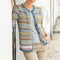 100% alpaca cardigan, 'Sweet Cake' - Multicolor 100% Alpaca Cardigan Sweater from Peru