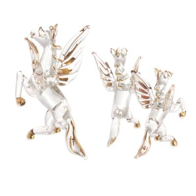 Unicef Market Clear Glass Gilded Pegasus Figurines From Peru Set Of 3 Rearing Pegasus
