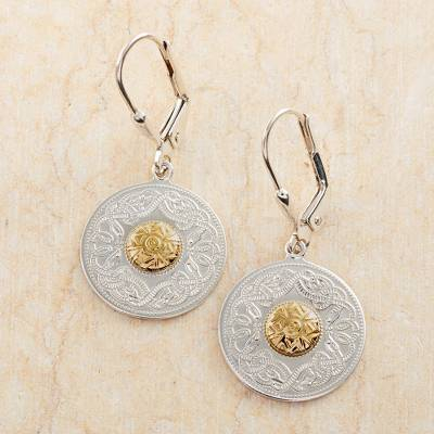 Gold accented sterling silver dangle earrings, 'Celtic Chalice' - Celtic Chalice Earrings