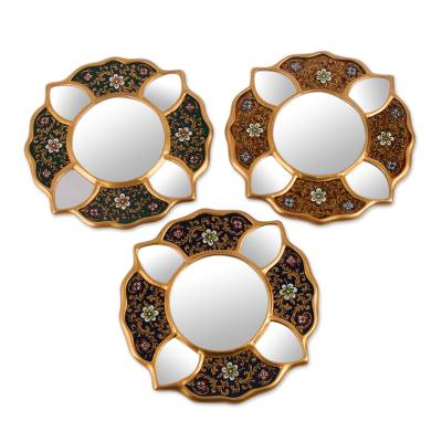 Reverse painted glass mirrors, 'Floral Glory' (set of 3) - 3 Petite Andean Floral Reverse Painted Glass Mirrors