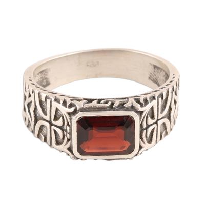 Men's single-stone ring, 'Majestic Strength' - Men's Garnet and Sterling Silver Single-Stone Ring