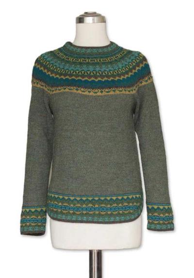 100% alpaca sweater, 'Inca Valley' - Hand Crafted Alpaca Pullover Sweater