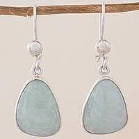 Jade dangle earrings, 'Apple Green' - Handcrafted Sterling Silver Apple Green Jade Earrings