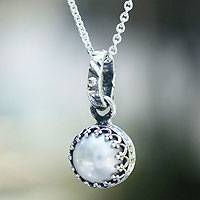 Cultured pearl pendant necklace, 'Taxco Royalty' - Peace and Calm Fine Silver and Pearl Necklace