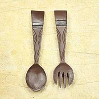 Wood wall adornments, 'Fork and Spoon' (pair) - African Handmade Wood Fork and Spoon Wall Art (Pair)