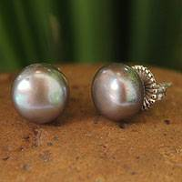 Cultured pearl button earrings, 'Twilight Serenade' - Handcrafted Pearl Button Earrings