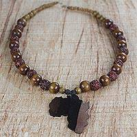 Ebony wood and recycled glass beaded pendant necklace, 'Good Africa'