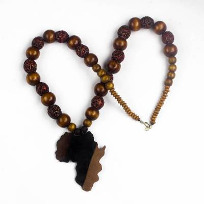 Ebony wood and recycled glass beaded pendant necklace, 'Good Africa' - Africa-Themed Ebony Wood and Recycled Glass Pendant Necklace