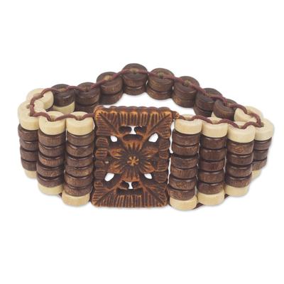 Wood stretch bracelet, 'Kumasi Blossom' - Eco Friendly Ghana Artisan Crafted Wood Stretch Bracelet