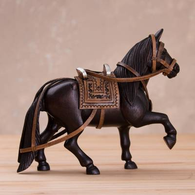Mahogany wood and leather sculpture, 'Paso Steed' - Hand-Carved Mahogany and Leather Horse Sculpture from Peru