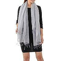 Silk blend scarf, 'Dazzling Beauty in Smoke Grey'