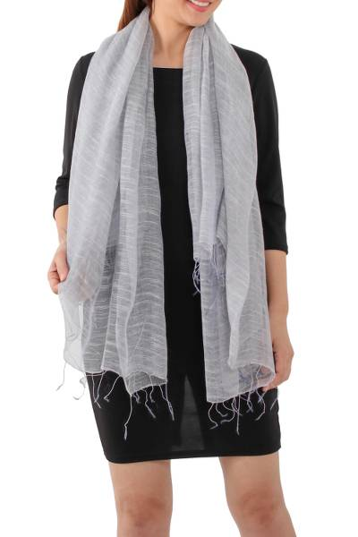 Silk blend scarf, 'Dazzling Beauty in Smoke Grey' - Handwoven Silk Blend Scarf in Smoke Grey from Thailand