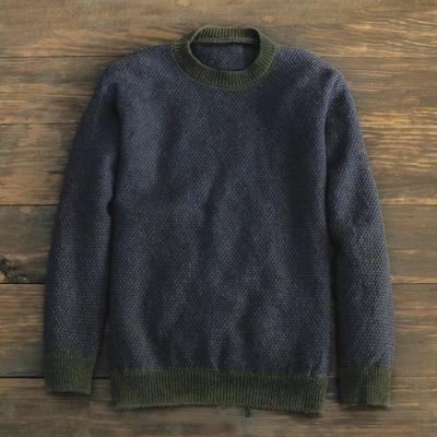 Brown Irish Birdseye Lambswool Crew Sweater