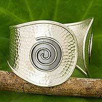 Silver cuff bracelet, 'The Black Moon' - Artisan Crafted Silver Cuff Bracelet from Thailand