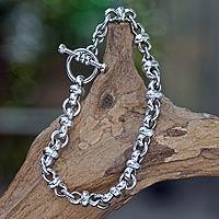 Men's sterling silver bracelet, 'Eight Motif' - Men's Sterling Silver Link Bracelet