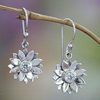 Sterling silver earrings, 'April Daisy'