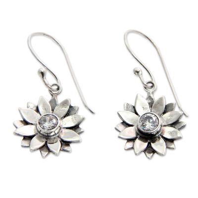 Sterling silver earrings, 'April Daisy' - Unique Sterling Silver and Cubic Zirconia Flower Earrings