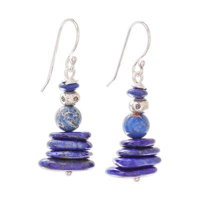Lapis Lazuli and Variscite Beaded Dangle Earrings
