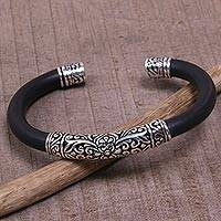 Sterling silver cuff bracelet, 'Night Majesty' - Sterling Silver and Black Rubber Cuff Bracelet from Bali