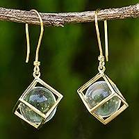 Gold plated quartz dangle earrings, 'Frozen Raindrops'