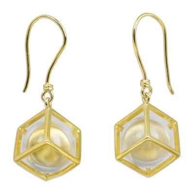 Gold plated quartz dangle earrings, 'Frozen Raindrops' - Hand Crafted Quartz and Gold Plated Dangle Earrings